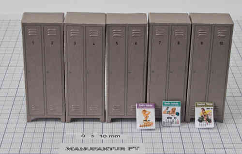 Set 5 Doppel-Spinde, grau, Nummern 1 bis 10 + Pin-Up-Kalender