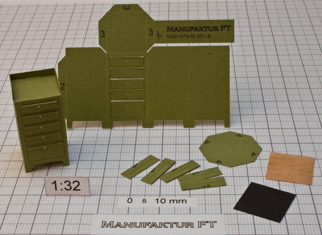 Werkstattschrank, grün, mit 5 Schubladen und Ablage - Manufaktur FT